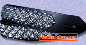 GUITAR STRAP - 3 ROW DIAGONAL CHROME PYRAMIDS STUD ON B. LEATHER