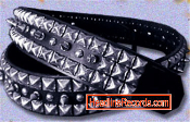 GUITAR STRAP - PYRAMIDS & SPIKES ON BLACK LEATHER