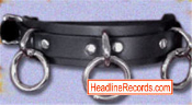 CHOKER - 3 HEAVY O RINGS ON BLACK LEATHER