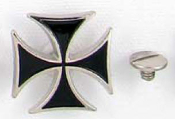 STUDS - BLACK IRON CROSS (PACK OF 5) - FREE SHIPPING