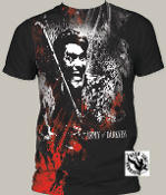 "MOVIE TEE SHIRT - ARMY OF DARKNESS ""BLOOD & SMOKE"" FULL PRINT"
