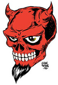 ALAN FORBES STICKER - DEVIL SKULL