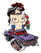 ALAN FORBES STICKER - HELL GIRL