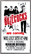HEADLINE FLYER - BUZZCOCKS SIGNING (COLOR)