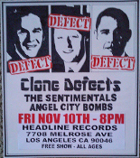 HEADLINE FLYER - CLONE DEFECTS / ANGEL CITY BOMBS (COLOR)