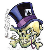 PIZZ STICKER - TOP HAT SKULL STICKER