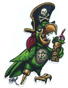 BIGTOE STICKER - PARTY PIRATE PARROT